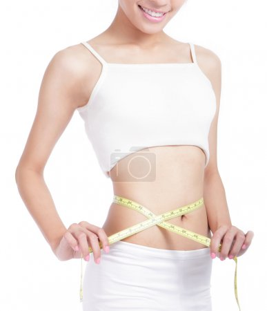 Woman measuring shape of waist with smile