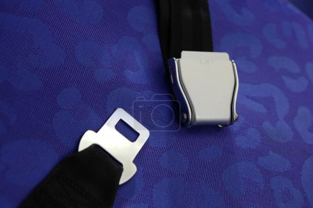 Seat belt with blue background