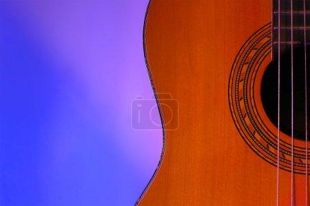 Guitar's Beautiful Curve in blue light