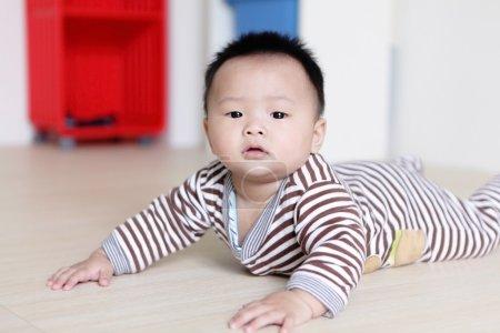 Cute Baby crawling on livingroom floor