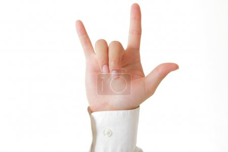Hand in rock n roll sign with white shirts