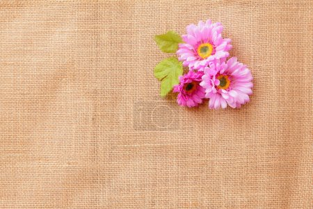 Linen texture background with beautiful flowers