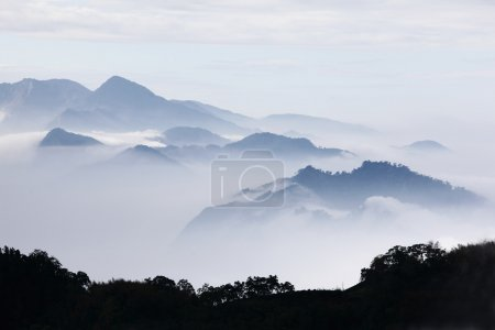 Photo for Mountains with trees and fog in monochrome color shot in taiwan asian - Royalty Free Image