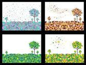 Vector illustration of 4 seasons geometric background set