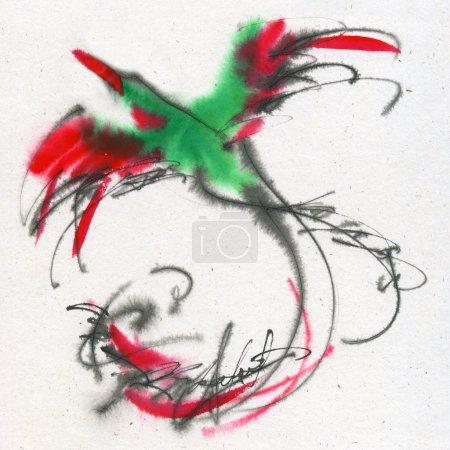 Photo pour Oiseau exotique inhabituel. Calligraphie et aquarelle sur le papier texturé . - image libre de droit
