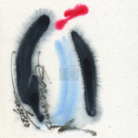 Photo pour Un pingouin. Aquarelle sur le papier texturé . - image libre de droit