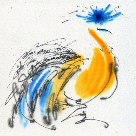 Photo pour Insolite grue couronnée. Calligraphie et aquarelle sur le papier texturé . - image libre de droit