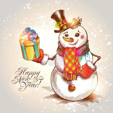 Illustration pour Noël. Bonhomme de neige dessiné à la main avec cadeau sur un fond beige. Illustration vectorielle . - image libre de droit