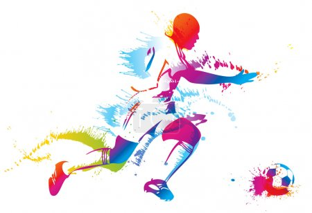 Illustration for Soccer player kicks the ball. Vector illustration. - Royalty Free Image