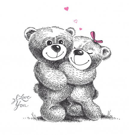 Photo for Couple of hugging teddy bears with small hearts. Hand drawn illustration, vector. - Royalty Free Image