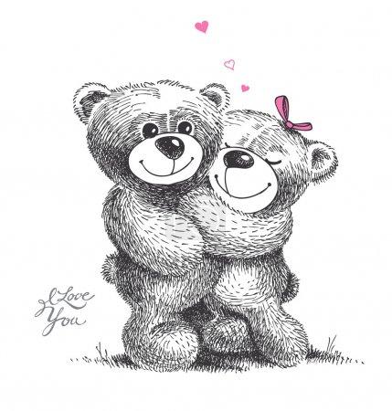 Illustration pour Couple d'ours en peluche câlins avec de petits cœurs. Illustration dessinée à la main, vecteur . - image libre de droit