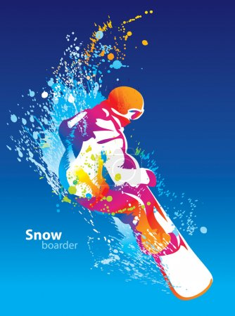 Photo pour La figure colorée d'un jeune homme snowboard sur fond de ciel bleu. Illustration vectorielle . - image libre de droit