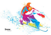 The colorful figure of a young man snowboarding with drops and s