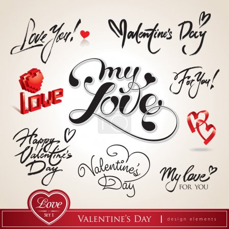 Illustration for Valentine's Day. Set of Valentine's calligraphic headlines with hearts. Vector illustration. - Royalty Free Image