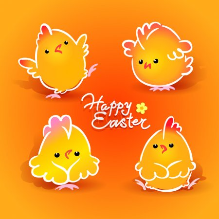 Easter card with four chickens (roosters and hens) on the orange