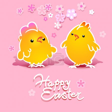 Easter card with two chickens (rooster and hen) on a pink backgr