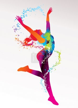 Illustration for The dancing girl with colorful spots and splashes on a light background. Vector illustration. - Royalty Free Image
