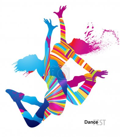 Illustration for Two dancing girls with colorful spots and splashes on white background. Vector illustration. - Royalty Free Image