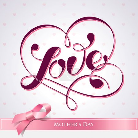 Illustration for Lettering LOVE. For themes like Mother's Day, Valentine's Day, holidays. Vector illustration. - Royalty Free Image