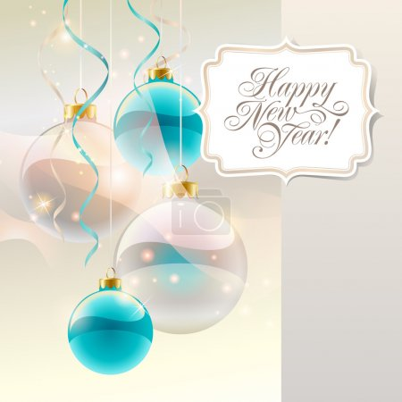 Christmas card with baubles and sticker with lettering. Vector i