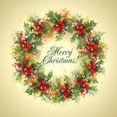Christmas card The holly wreath on a beige background Vector i