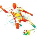 Soccer player kicks the ball. Vector illustration....