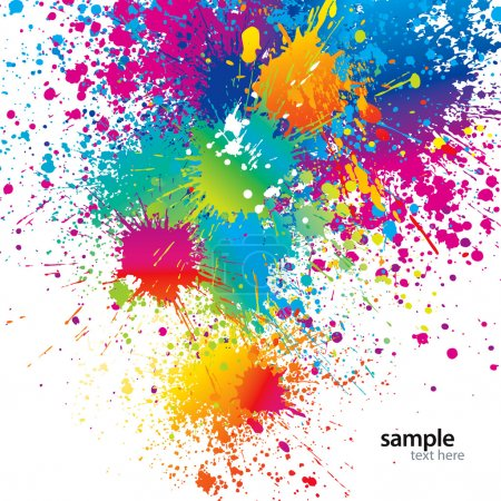 Illustration for Background with colorful spots and sprays on a white. Vector illustration. - Royalty Free Image