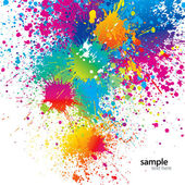 Background with colorful spots and sprays on a white Vector illustration