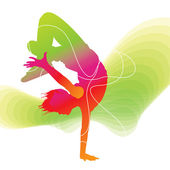The dancer Colorful silhouette with lines on abstract backgroun
