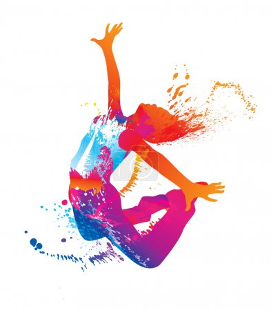 The dancing girl with colorful spots and splashes on white backg