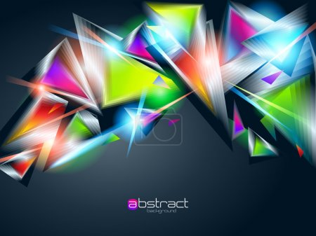 Illustration for Abstract background from colorful glowing triangles. Vector illustration. - Royalty Free Image