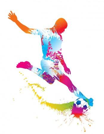 Illustration pour Joueur de soccer botte le ballon. illustration vectorielle. - image libre de droit