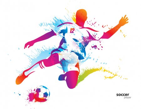 Illustration for Soccer player kicks the ball. The colorful vector illustration with drops and spray. - Royalty Free Image