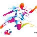 Soccer player kicks the ball. The colorful vector ...