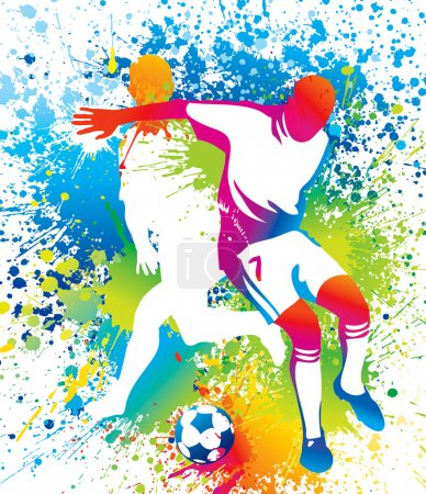 Illustration for Football players with a soccer ball. Vector illustration. - Royalty Free Image