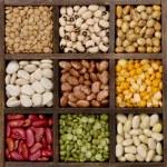 Bean background nine varieties in a printers box, ...