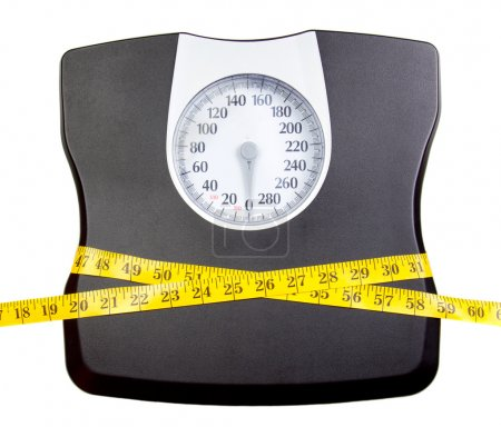 A bathroom scale with a measuring tape