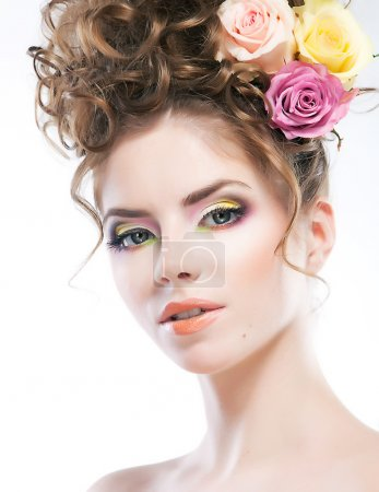 Hairstyle - beautiful sexy female art portrait with roses in her head