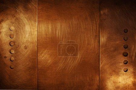 Photo pour Conception en métal bronze brossée, abstract grunge background - image libre de droit