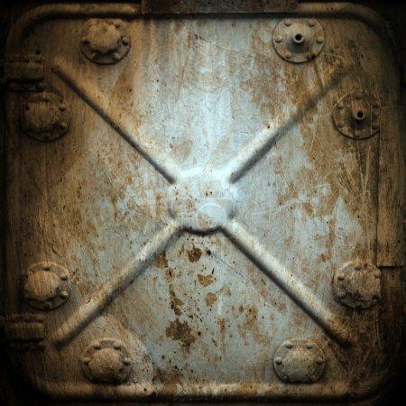 Photo pour Hummer rivets rouillés porte militaire ; fond de texture en métal - image libre de droit