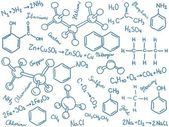 Chemistry background - molecule models and formulas hand-drawn illustration