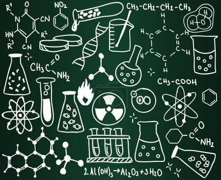Chemistry icons and formulas on the school board