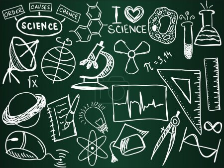 Photo for Scientific icons and formulas on the school board - illustration - Royalty Free Image