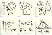 Mathematics and geometry icons and formulas on yellow memo sticks