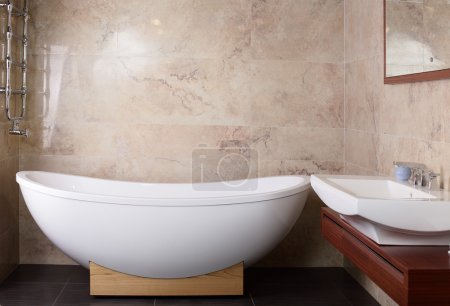 Photo for Interior of brand new bathroom with mirror - Royalty Free Image