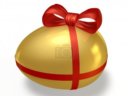 Golden egg with a bow