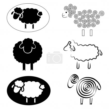 Illustration for Black silhouettes of sheep on a white background - Royalty Free Image