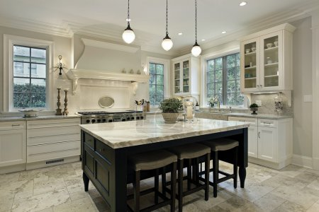 Photo for Kitchen in modern home with granite countertops - Royalty Free Image