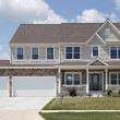 Stone two story home with front porch...