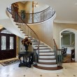 Foyer in luxury home with circular staircase...